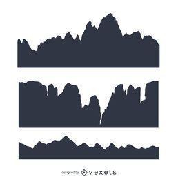 Conjunto de silhueta de montanha