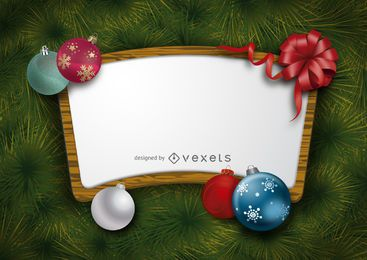 Christmas wooden background frame