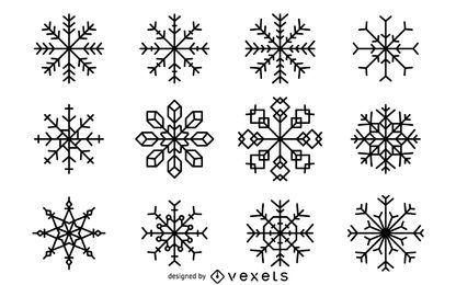 Conjunto de ilustración de copos de nieve de Navidad
