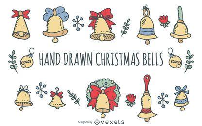 Conjunto de sinos de Natal de mão desenhada