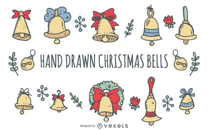 Hand drawn Christmas bells set