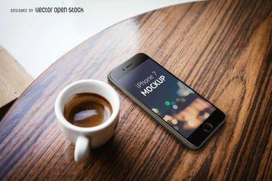 Plantilla de iPhone 7 con café PSD