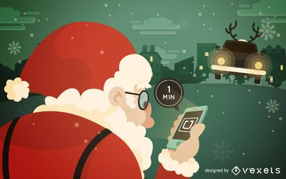 Santa waiting for Uber illustration