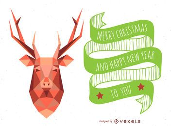 Polygonal christmas reindeer card