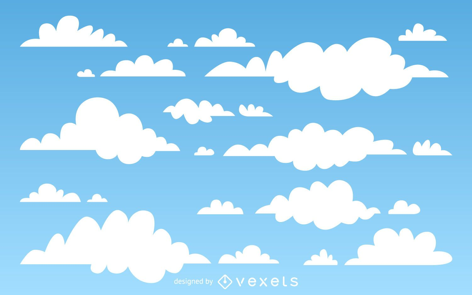 illustrated clouds background vector download