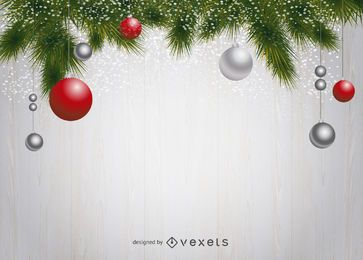 Fondo de pino y adorno navideño
