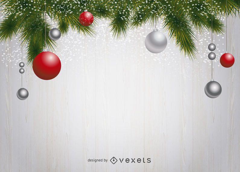 Fondo de pino y adornos navideños.