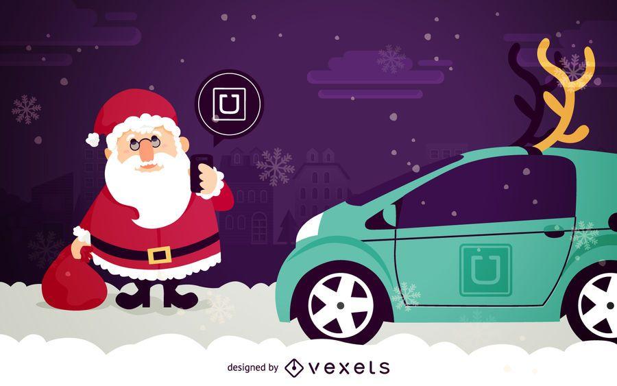 Santa Claus on Uber cartoon