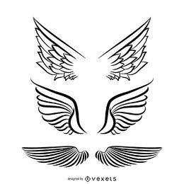 Conjunto de ilustración de alas de ángel