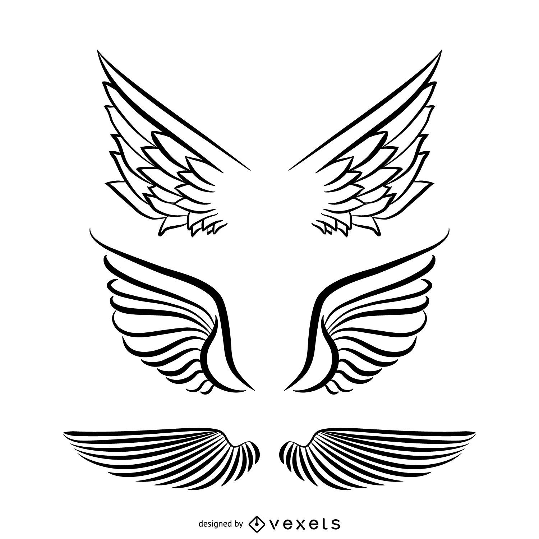 Angel wings illustration set