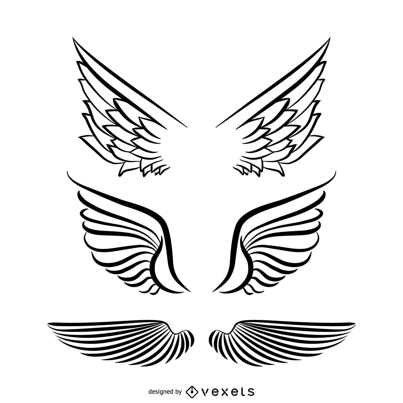 Conjunto de ilustração de asas de anjo