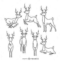 Conjunto de ilustração de renas