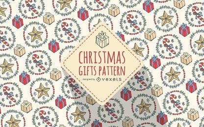 Fondo de patrón de regalos de Navidad