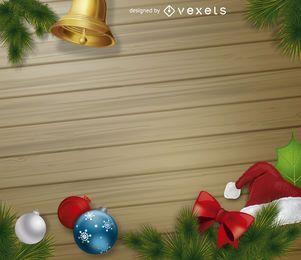 Fondo de madera de elementos de Navidad