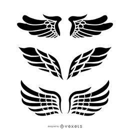 Ilustrações de asas de anjo isolado