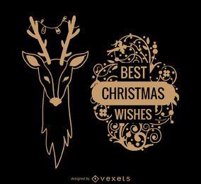 Deseos de navidad tarjeta de reno