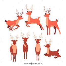 Conjunto de ilustración de reno estilizado