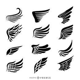 Conjunto de modelo de logotipo de rótulo de asas