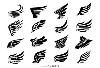 Paquete de iconos de silueta de alas