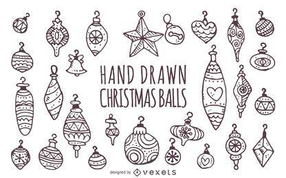 dibujados a mano adornos de Navidad fijadas