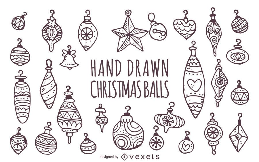 Conjunto de adornos de Navidad dibujados a mano