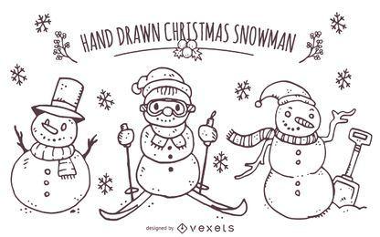 Dibujado a mano conjunto de muñeco de nieve de Navidad