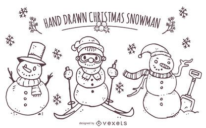 Mão desenhada conjunto de boneco de neve de Natal