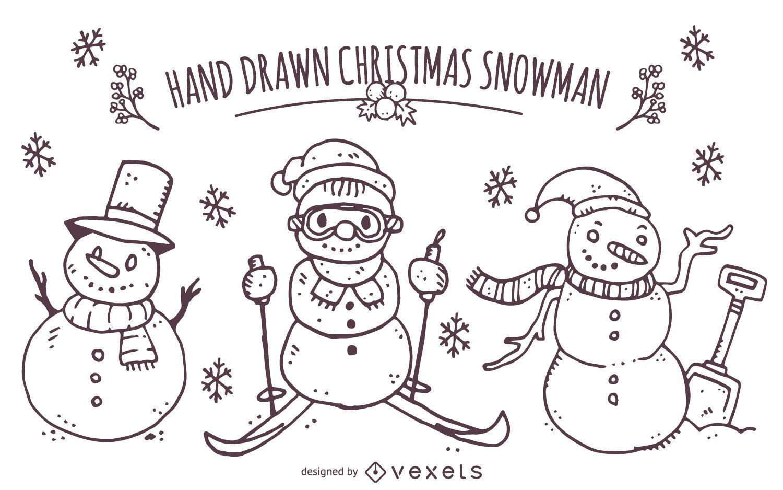 Conjunto de muñeco de nieve navideño dibujado a mano