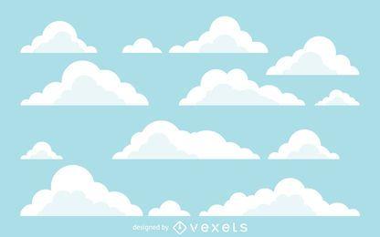 Fundo de ilustrações de nuvem plana
