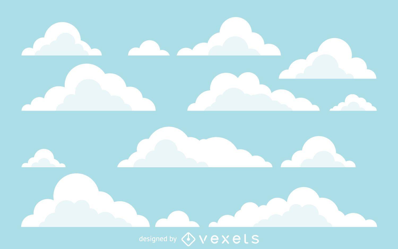 Fondo de ilustraciones de nubes planas