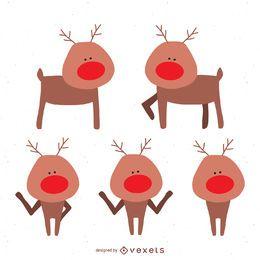 Conjunto de ilustração de rena de Natal