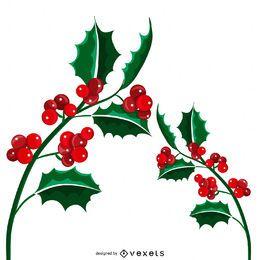 Ilustración aislada de muérdago de Navidad