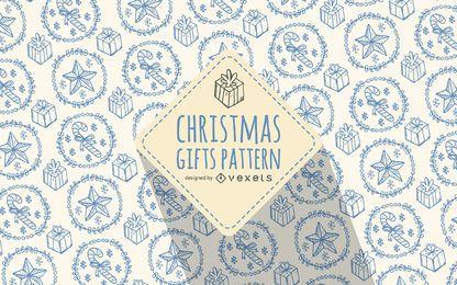 Presente de Natal doodles cores suaves de padrão