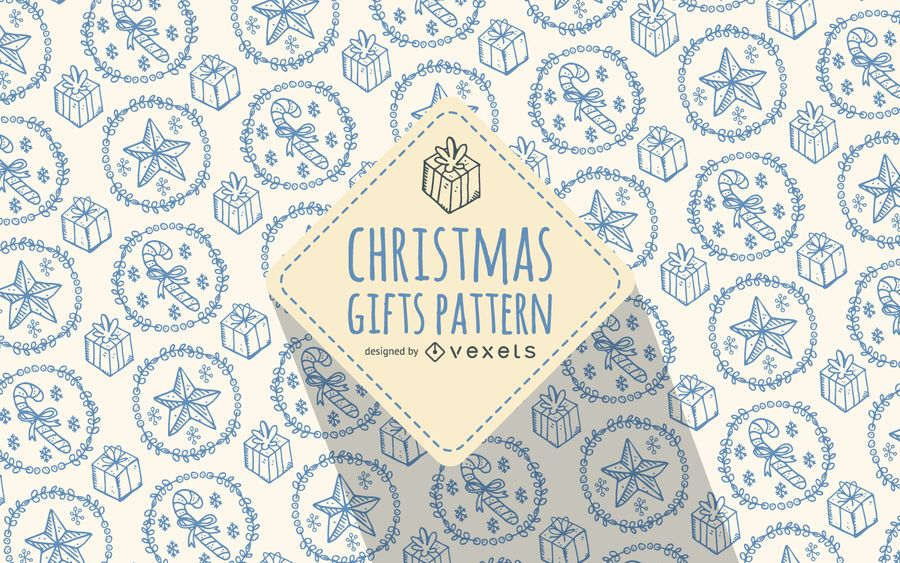 Christmas gift doodles pattern soft colors