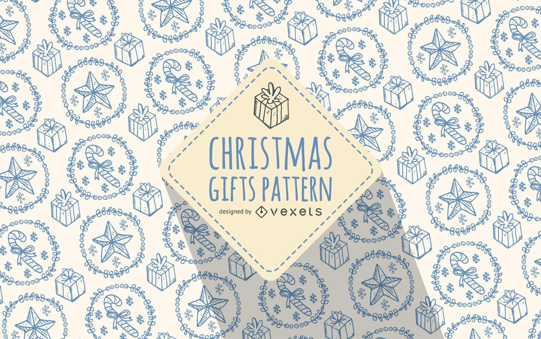 Regalo de Navidad patrón de garabatos colores suaves