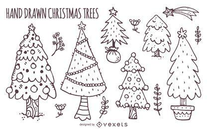 Conjunto de árvores de Natal de mão desenhada