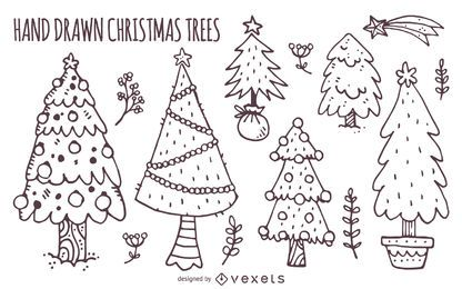 Hand drawn Christmas trees set
