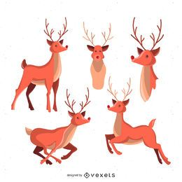 Conjunto de ilustração de veado
