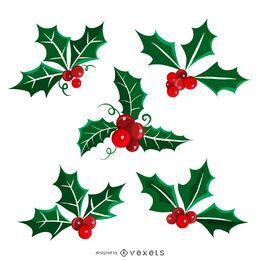 Conjunto de ilustración de muérdago de Navidad