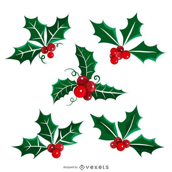 Conjunto de ilustração de visco de Natal