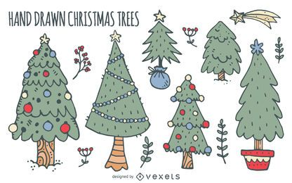 Christmas trees doodles set
