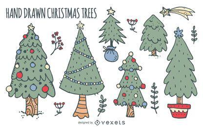 Christmas trees doodles set