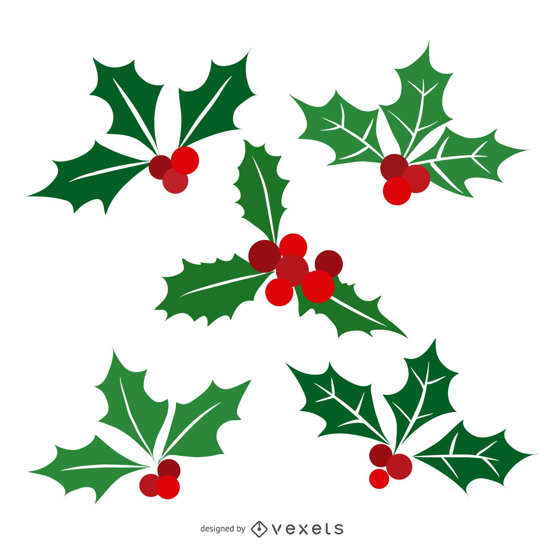 Flat isolated Christmas mistletoe 5 set