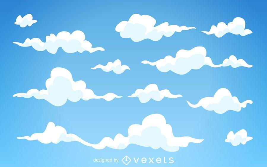 Fondo ilustrado nubes de dibujos animados  Descargar vector
