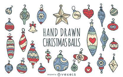 Conjunto de enfeites de Natal doodled