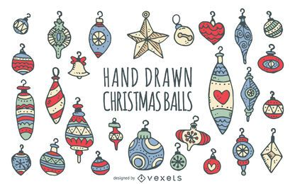 Doodled Christmas ornaments set