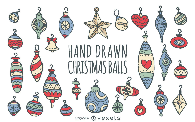 Doodled Christmas ornaments set