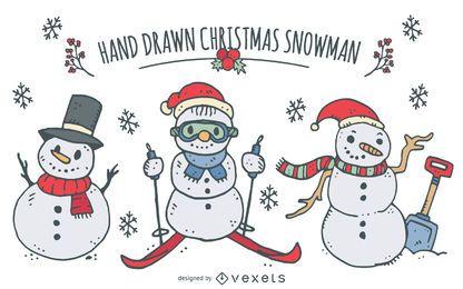 Conjunto de muñecos de nieve de navidad