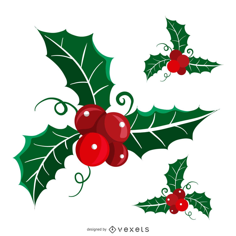 Conjunto de muérdago de Navidad aislado plano