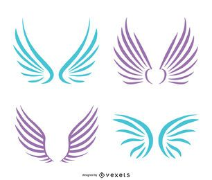 Angel wings illustrations in pastel tones